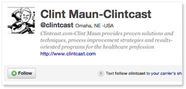 Clintcast at Twitter 'follow' screenshot